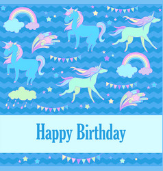 Happy birthday holiday card with unicorn flags vector