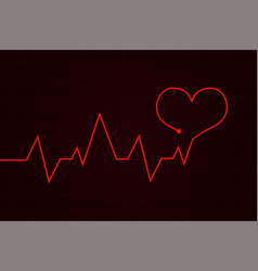 heartbeat cardiogram graph with red heart vector image