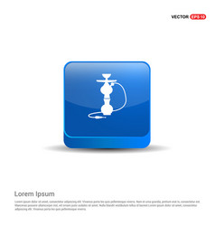 hookah icon - 3d blue button vector image