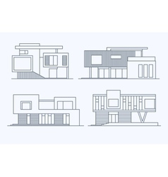 Houses linear 9 vector image