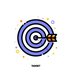 Icon of arrow in center of board for business vector