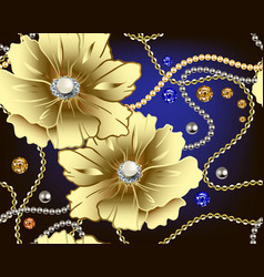 Jewellery floral 3d seamless pattern gold vector