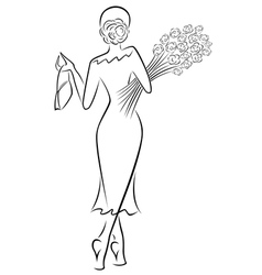 Lady with a bouquet of roses goes away vector image
