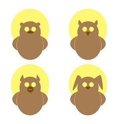 Logo owl bear hare pig on a yellow circle vector image