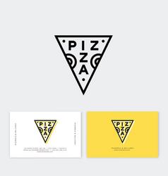 Logo pizza triangle simple linear pizzeria emblem vector