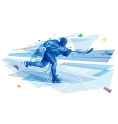 male hockey player performing slap shot vector image