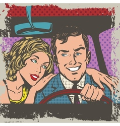Man and woman in the car pop art comics retro vector