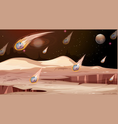 Mars and asteroid scene vector