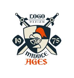 Middle ages logo design estd 1975 vintage badge vector
