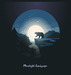 midnight or night landscape with bear on rock vector image