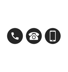 mobile phone call icons telephone or smartphone vector image