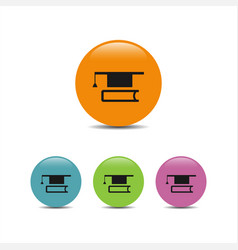 Mortarboard with book icon vector
