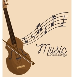 Music festival fiddle wooden and notes vector