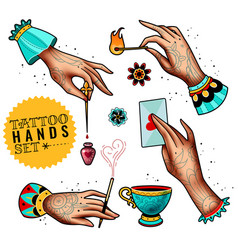 Oldschool tattoo hands set vector