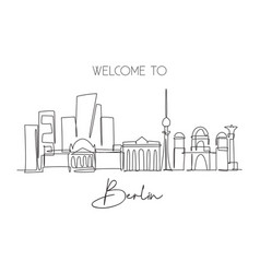 One continuous line drawing berlin city skyline vector