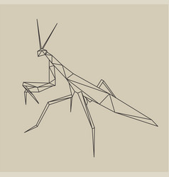 origami polygonal line style mantis vector image