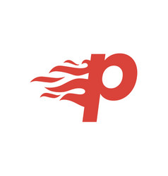 P letter lowercase fire flame hot logo icon vector