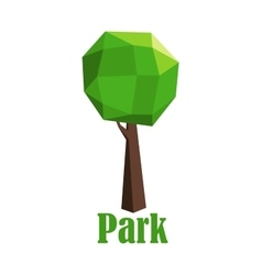 Park icon with polygonal green tree vector image