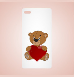 phone icon with hearts vector image