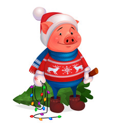 pig in sweater holding christmas tree new year vector image