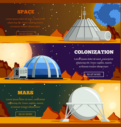 Planet colonization flat banners vector