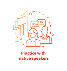 Practice with native speaker concept icon vector