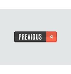 Previous web button flat design back vector image vector image