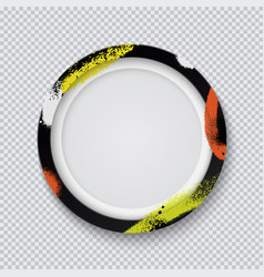 Realistic black circle photo frame painted with vector