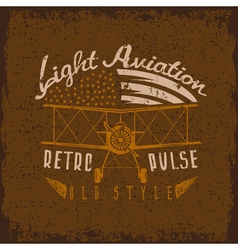 retro aviation grunge design with airplane and vector image