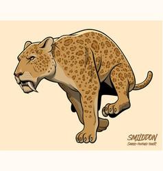 sabertooth tiger running vector image