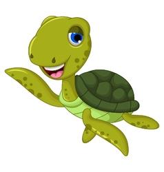 Sea turtle cartoon waving vector