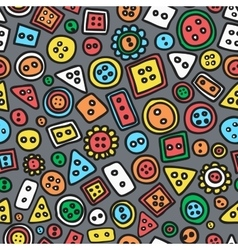 Seamless hand-drawn doodle pattern with buttons vector image