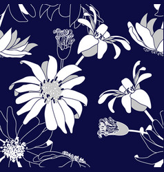 Seamless pattern with blue flowers vector