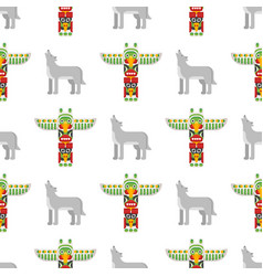 Seamless pattern with tribal totem and wolf vector