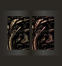 Set elegant black and gold brochure vector