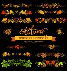 Set of autumn design elements vector