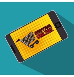 Shopping online cart smartphone with screen polka vector