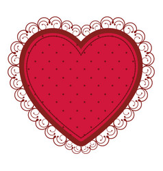 Silhouette heart with decorative frame in red vector