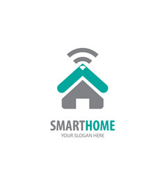 smart home logo for business company simple smart vector image