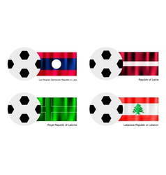 Soccer Ball of Laos Latvia Ladonia and Lebanon vector image