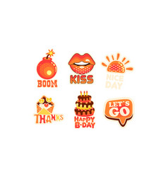 social network stickers isolated on white vector image