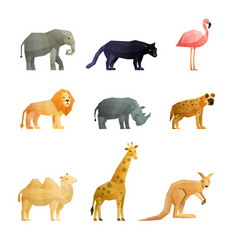 Southern wild animals polygonal icons set vector