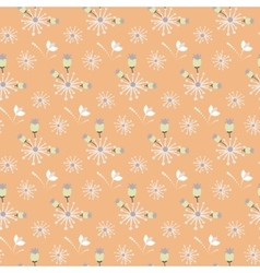 Spring wild flower orange and beige field seamless vector