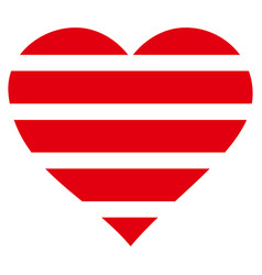 striped love heart icon vector image