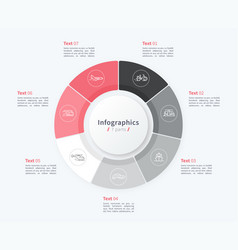 Stylish pie chart circle infographic template 7 vector