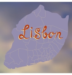 Stylized decorative map of lisbon on a blurry vector