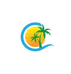 Travel wave sea logo vector