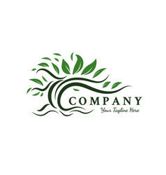trees logo designs inspirations root leaf vector image