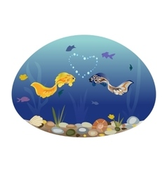 Two cute fish in love vector