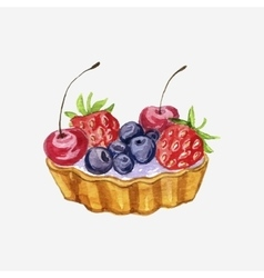 Watercolor cake with berries vector